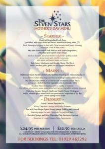 Seven Stars Wool nr Wareham, Dorset - Mother's Day Menu