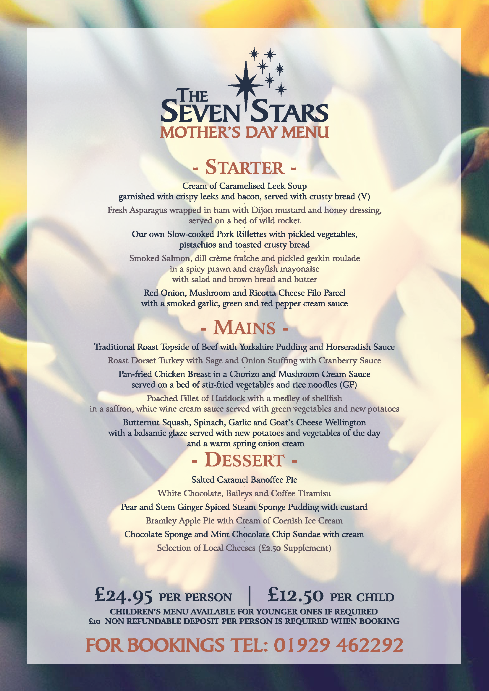 Seven Stars Wool nr Wareham, Dorset - Mother's Day Menu