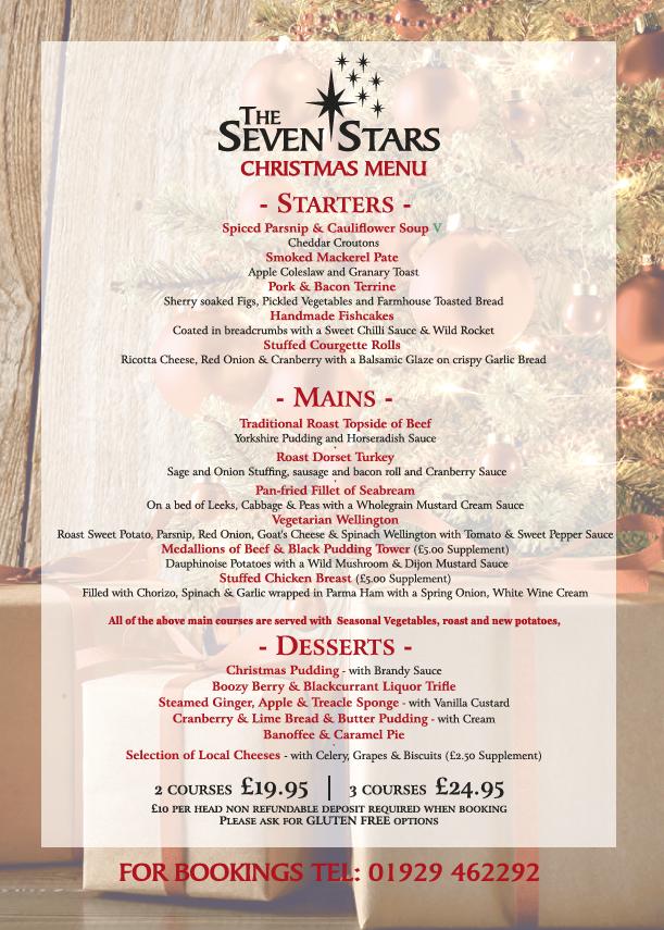 Seven Stars Wook, Christmas Menu 2018